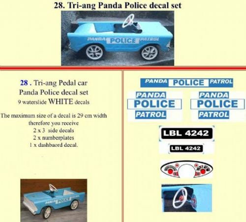 28 Tri-ang Panda Police decal set